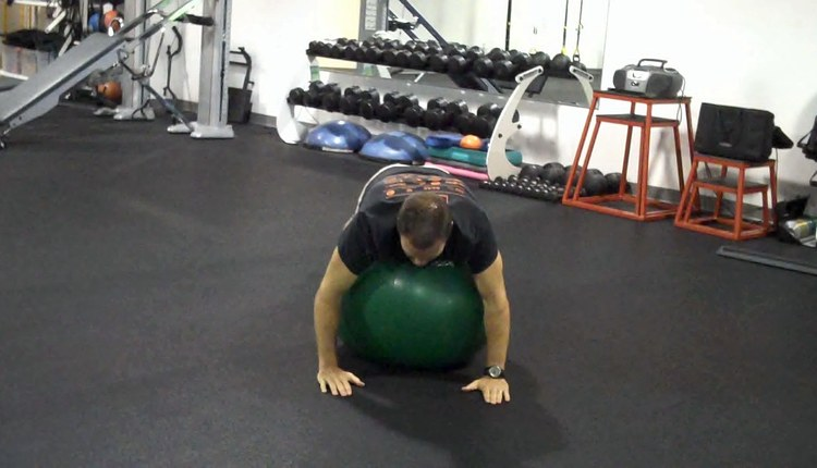 Stability Ball T-Spine Roll (start)