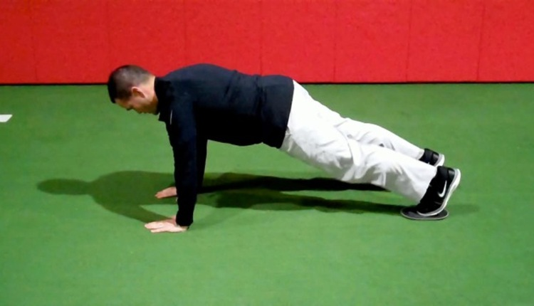 Tall Plank w Sliding Hip Flexion (start)
