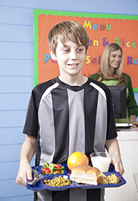 child eating healthy school lunch