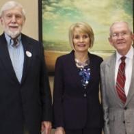 Caption: Dr. Frank B. Hughes, Margaret Elrod and Dr. Seborn Woods