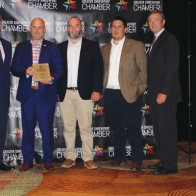 Caption: Jay Covington of 318 Forum, Charles Kingery, Ryan Roberts and Adam Palmer of Weiland, awarded a 318 Forum Top Biz for 2019 with the Chairman of the Chamber, Patrick Harrison
