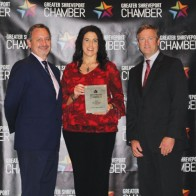 Caption: Jay Covington, Lifeshare Blood Center CFO Carrie Hrisafi Josan and a recipient of 318 Forum's Top Biz 2019 with Patrick Harrison