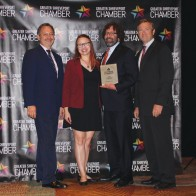 Caption: Publisher Jay Covington, Danielle and James Richards of Richard Creative, recipients of 318 Forum's Top Biz for 2019 with Chairman Patrick Harrison and