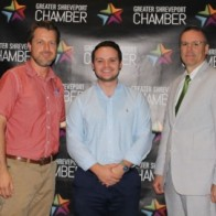 Caption: Jared Beville of Red River Brewing, Nick Oliver with EAP and Shreveport Chamber President, Dr. Tim Mangum